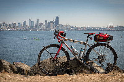 20160820.  Scarlet Seven with Elliott Bay and downtown Seattle in background.   View from Alki, Seattle WA.
