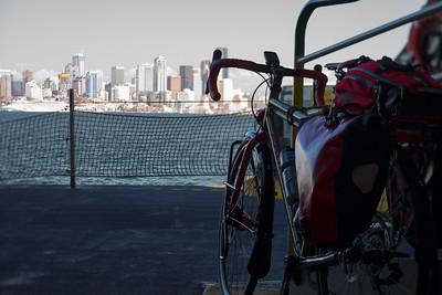 20160812.  Bike trip to Bainbride Island, WA.  View of Scarlet Seven and Seattle from ferry returning from Bainbridge Island.