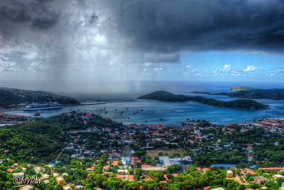 St Thomas Harbor during a midday downpour