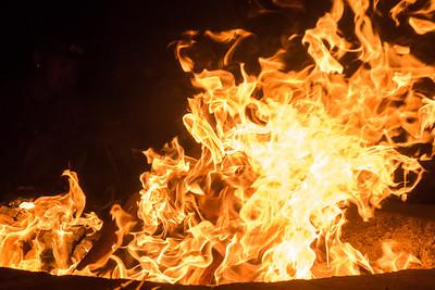 Flames rising