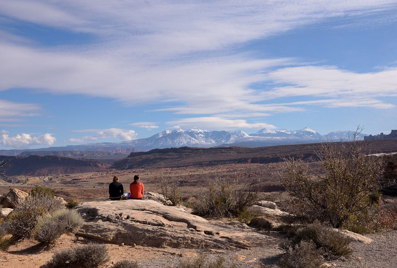 Taking in the scenery.<br /> Salt Valley overlook<br /> Arches National Park