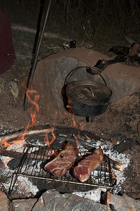 Buffalo Sirloin and potatoes (in the dutch oven).  Apparently fires are not ok in this area right now, but we were very safe and covered our tracks before leaving