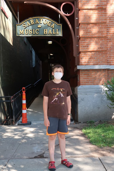 In front of the music hall