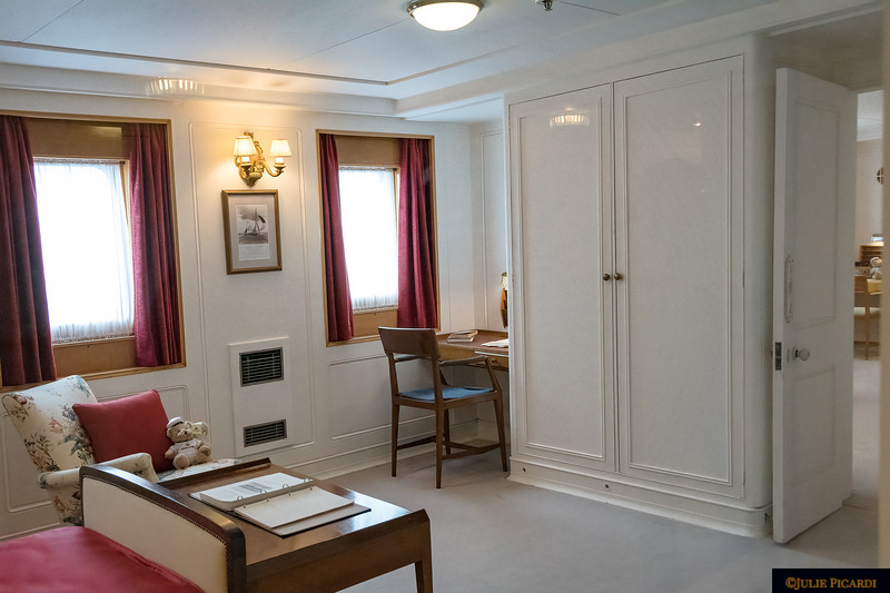 Additional view of Prince Philip's stateroom. On the right is a door which allowed connected to the queen's private quarters.