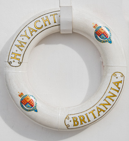 Officially retired, she is now berthed at Ocean Terminal in Edinburgh, Scotland. Above is the lifesaver ring aboard the Britannia.