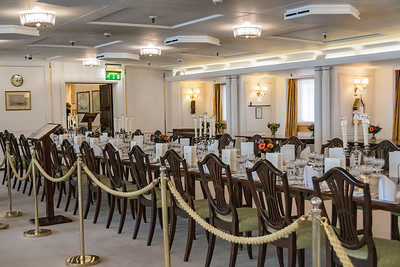 The State Dining Room is the largest and  grandest room on the yacht.