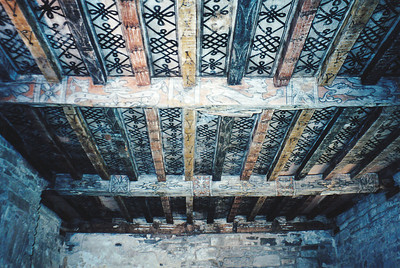 Painted ceiling and beams, Huntingtower Castle, Scotland