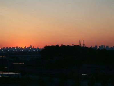 Dawn over New York fro New Jersey