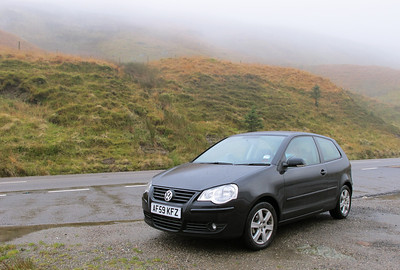 Day 1 On the road from Glasgow to Tarbert. Our trusty little VW Polo rental car, whose mystery gearbox will give me fits over the next two weeks.