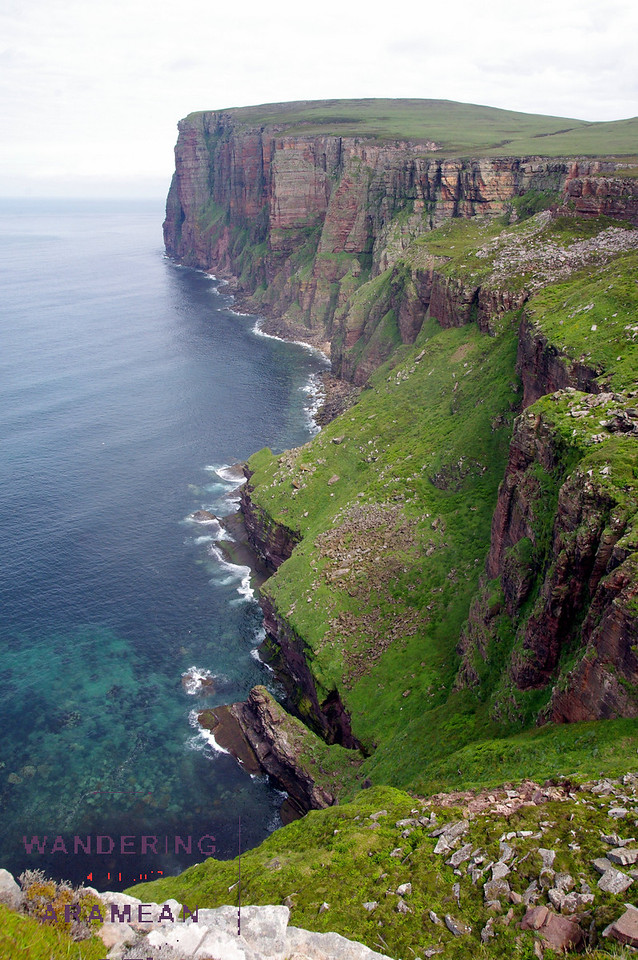 Looking up the coast; beautiful water and cliffs