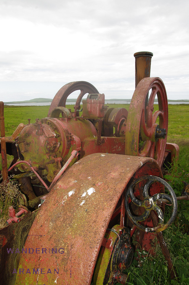 Some classic machinery on the side of one field in Papa Westray