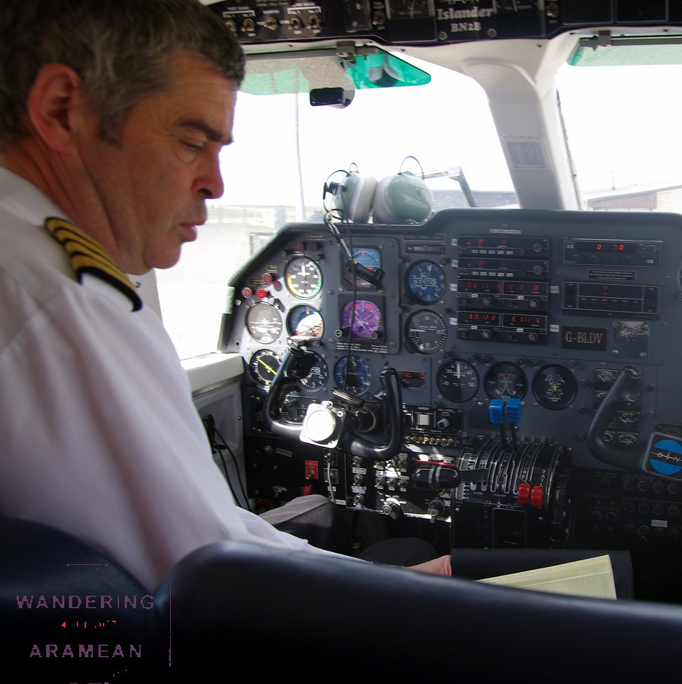 Our LoganAir pilot, getting ready for the departure from Kirkwall