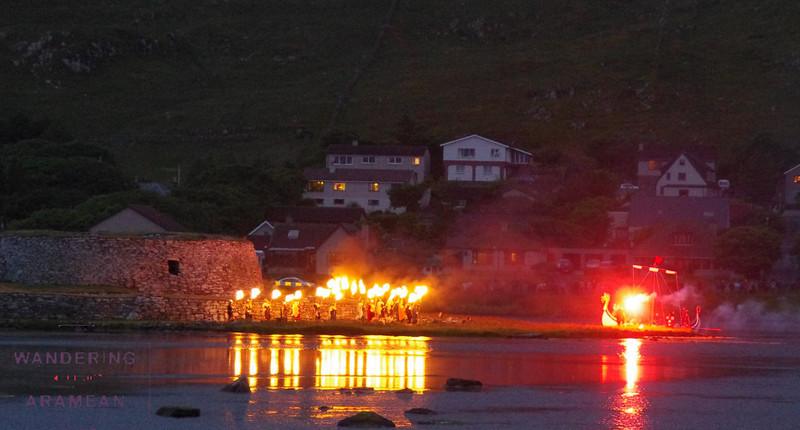 Getting ready to burn the boat on the loch at the Up Helly Aa celebration