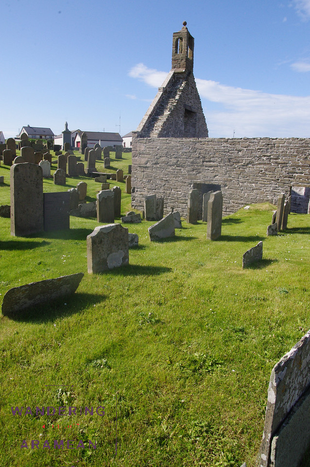 The graveyard at Lady Kirk on Westray; built in the late 1600s on the site of a church from the 1200s