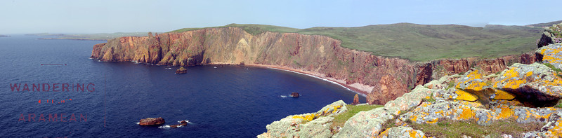 A panorama of the cliffs at Esha Ness