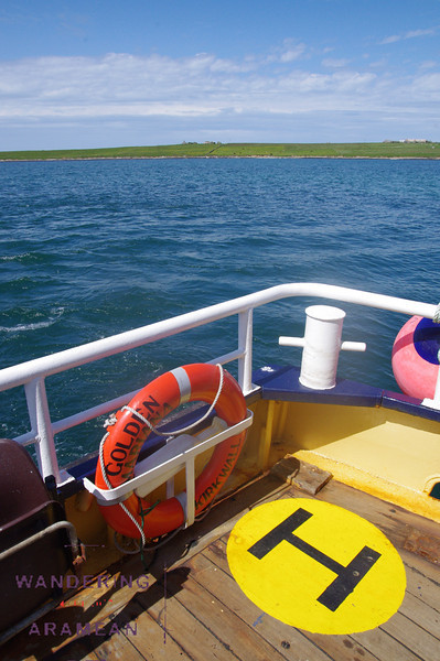 Riding on the ferry from Papa Westray to Westray