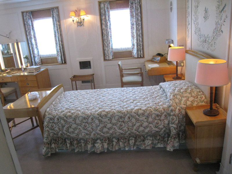 Edinburgh - Royal Yacht Britannia.  This was the Queen's bedroom, furnished to her specifications.  The Queen and Prince Phillip had separate, almost identical bedrooms.