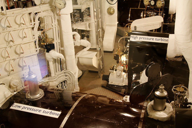 """Edinburgh - Royal Yacht Britannia.  This is one part of the Engine Room.  When General Schwarzkopf was given a tour of the ship, he reportedly remarked """"Now that I've seen the Museum, show me the real Engine Room""""."""