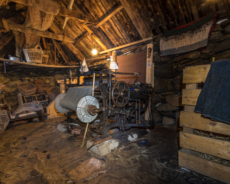 Traditional Interior.  They were heated with peat bricks in a central fire pit.  Arnol Black House Village