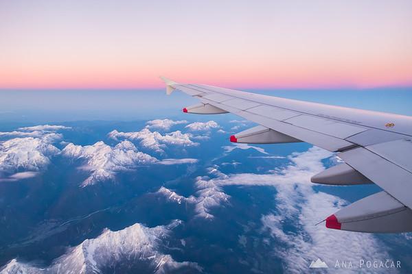On the Ljubljana-Frankfurt flight, the Julian Alps below