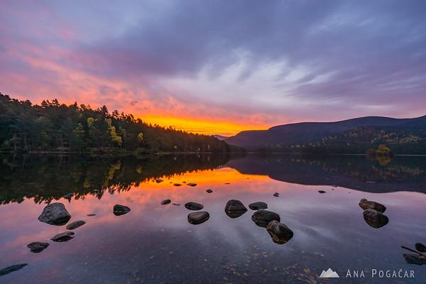 Fiery sunrise at Loch an Eilein, Cairngorms