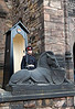 A Unicorn and a soldier guard the entrance to the Scottish National War Memorial.