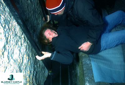 Getting ready to kiss the Blarney stone.