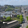 View of Edinburgh from atop the Nelson Monument on Calton Hill,<br /> looking up Waterloo Place and Princes Street with Waverly station<br /> on left and the Castle high above. <br /> May 25, 2015
