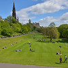 Vista of the East Princes Street Gardens early in the day, with the 200 foot tall monument to Sir Walter Scott on the left.