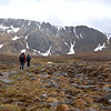 Beth, followed by our guide, Ken Keith, hiking toward the steep wall of Cairngorm Mountains (and into deteriorating weather).  May 28, 2015.