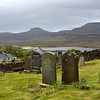 From St. Mary's Churchyard looking toward the McLeod Tables - the flattop mountains across the Dunvegan loch.