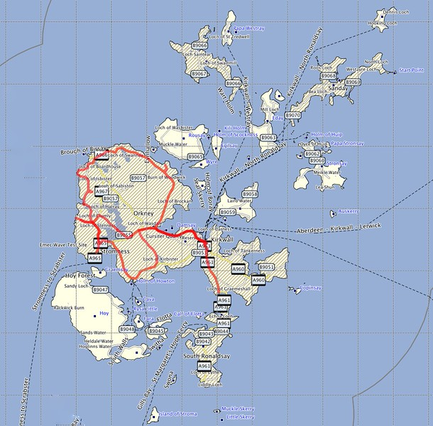 Route traveled on Orkney Island.<br /> June 6 - 8, 2015