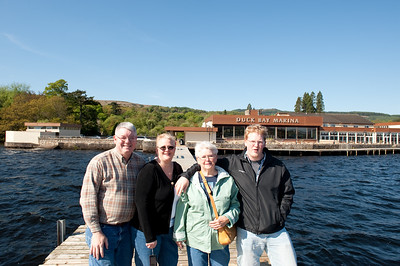 Loch Lomond:  the happy foursome on a dock