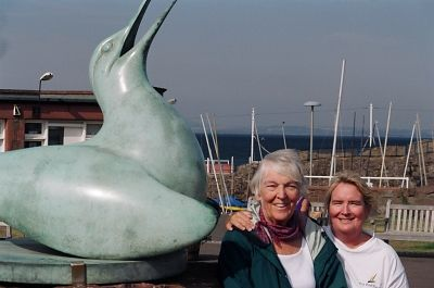 Mom, Carol and the giant Gannett at N Berwick, home of the Scottish Seabird Centre