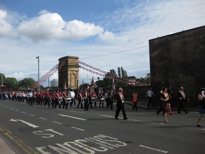 An unexplained parade through Glasgow city center. Day 1.