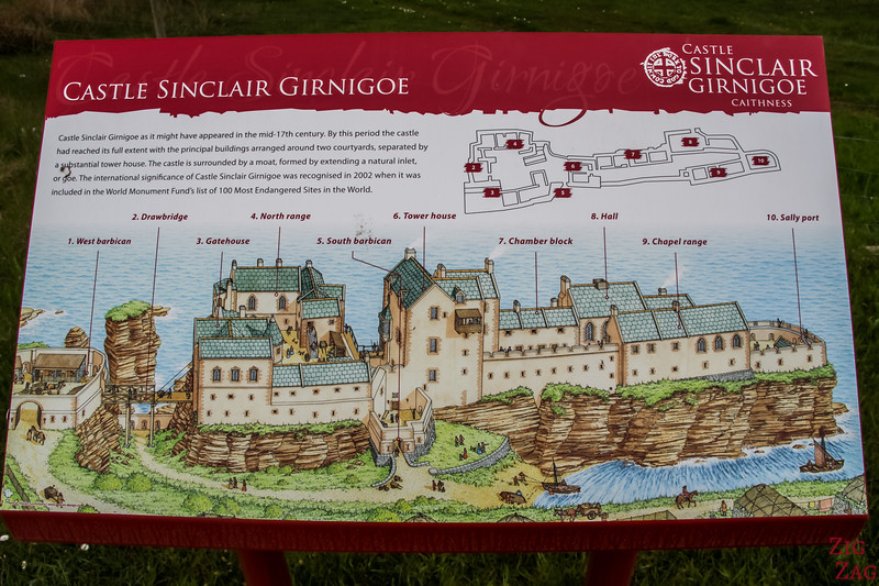 Castle Sinclair Girnigoe Castle map