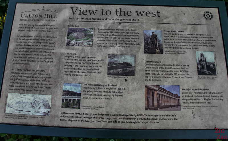 Signs with views from Calton Hill Edinburgh