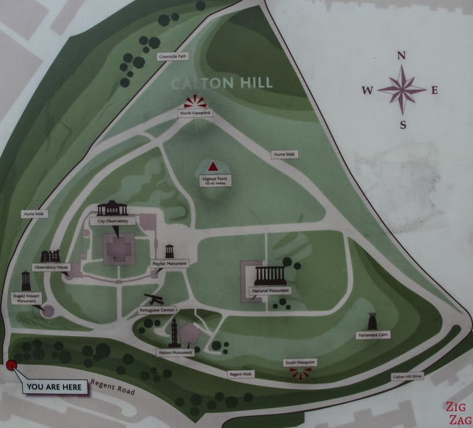Edinburgh Calton Hill Map