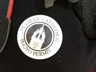St Giles Edinburgh Cathedral Photo Permit sticker