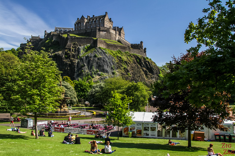 Visiting Edinburgh Scotland - Garden with view of castle