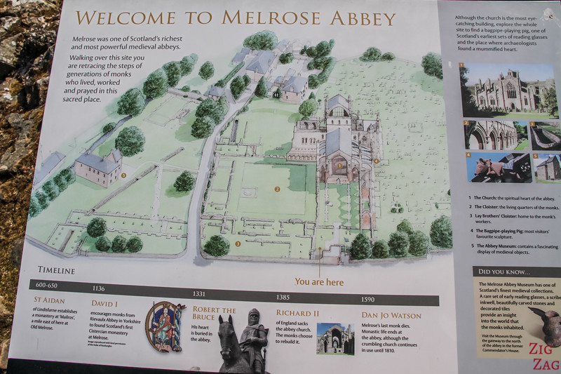 Melrose Abbey Map