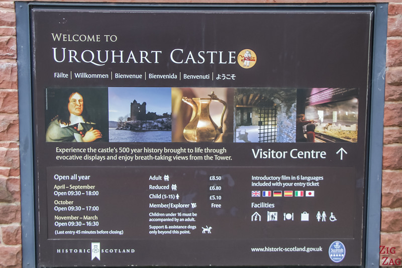 Urquhart castle price and opening hours