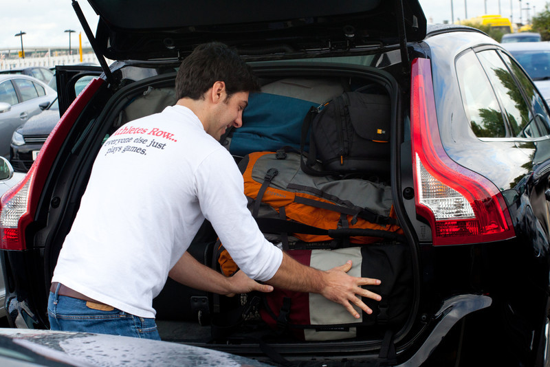 Jeff tries to pack the Volvo SUV a little bit more as we leave Heathrow.