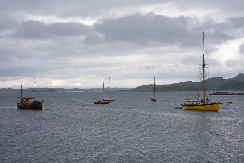 Moorings at Crinan. Cutter at right is Mischief (replica of Bill Tilman's famous Bristol Channel pilot cutter)