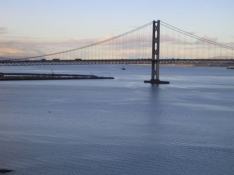 The Firth of Forth.  We were on the neat bridge which is always on Postcards.  This is another less impressive bridge.
