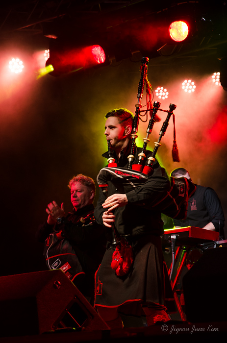 Red Hot Chilli Pipers during Inverness' Hogmanay Red Hot Highlands Fling