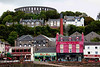 A colorful town. The building just below McCraig's Tower is a B&B we stayed at a couple of trips ago. The Oban Distillery stretches from left to beyond the right edge of the picture, behind the pink building.