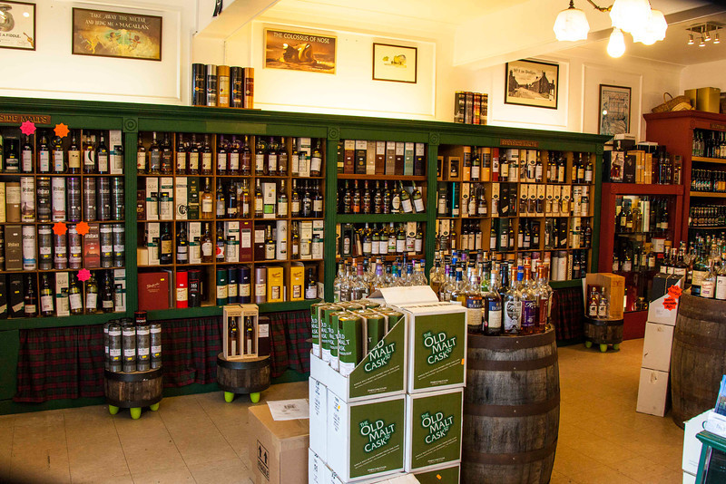 Interior of the Dufftown Whisky Shop.