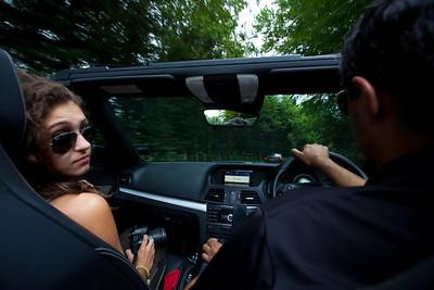 Driving Saadia's convertible Mercedes.