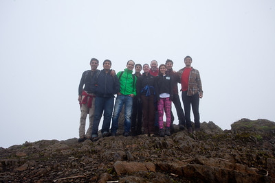 The shole gang at the top.  The wind was quite strong.
